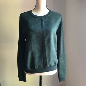 Topshop Forest Green Micro Suede Style Sweater